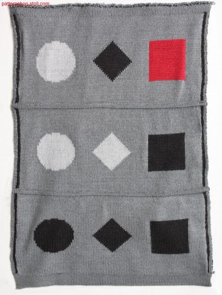 Multi-coloured cross-tubular jacquard fabric / Mehrfarbiges Kreuzschlauch-Jacquardgestrick