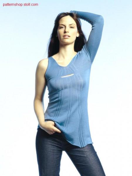 Asymmetric mini dress with linked off opening / Asymmetrisches Minikleid mit abgekettelter