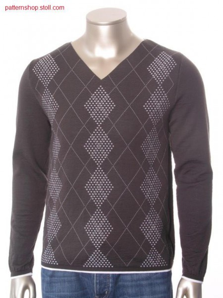 FF-pullover with 2-colour relief jacquard in cross-tubular /FF-Pullover mit 2-farbigem Reliefjacquard in Kreuzschlauch