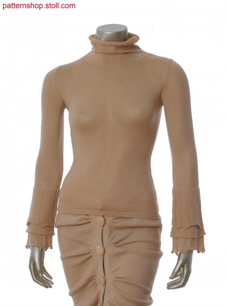 Fully Fashion pullover with sleeve in layer technology at cuff in 1x1 technique and later to all needle