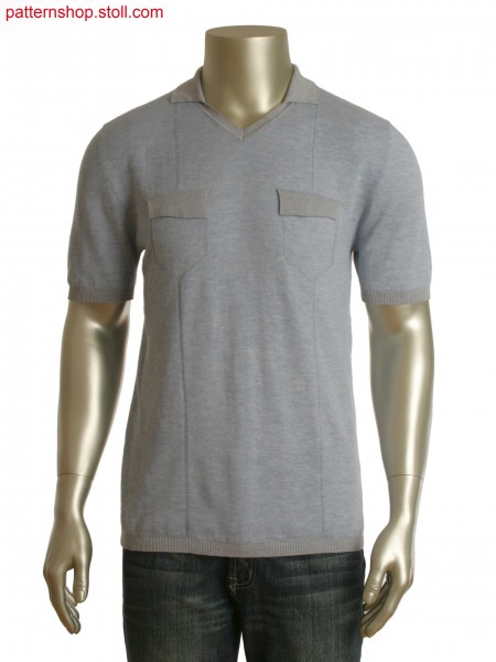 Fully Fashion structured Polo-Shirt with V-neck, pocket flaps and floats.