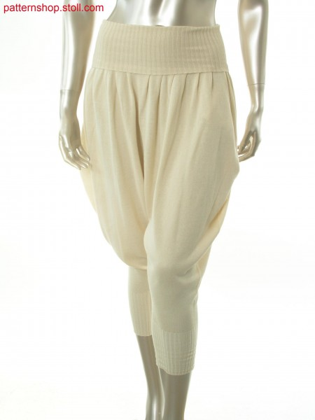 Jersey sarouel trousers with pleated waistband / Rechts-Links Sarouelhose mit Bundfalten