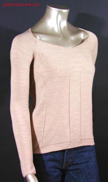 Pullover with special narrowing technique around neckline / Pullover mit spezieller Mindertechnik im Ausschnittbereich