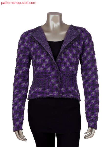 Fully Fashion jacket with integrated pockets and fringes, 3 colour birdseye jacquard and gore technique