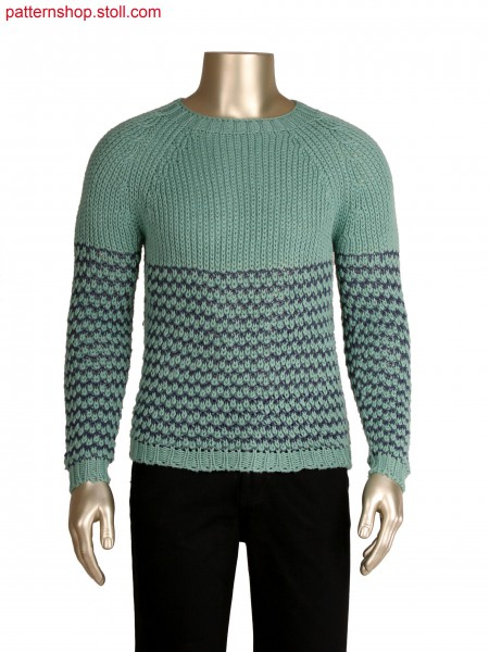 Stoll-knit and wear&reg pullover, tuck structure with 2 colour stripe