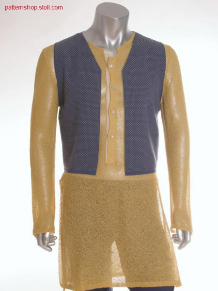 Fully Fashion waistcoat in 2-colour tubular relief jacquard / Fully Fashion Weste in 2-farbigem Schlauch-Reliefjacquard