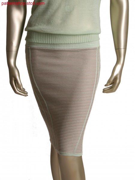 Stoll-flexible gauge&reg, Fully Fashion skirt in 10gg optic and 1x1 technique, 2 colour stripe with holding stitch