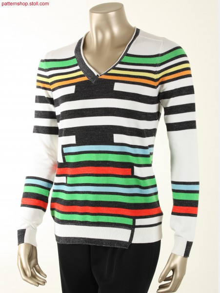 Plated and striped Fully Fashion jersey Pullover / Plattiert-geringelter Fully Fashion Rechts-Links Pullover