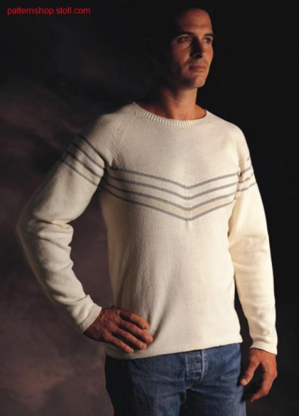 Striped jersey raglan pullover / Rechts-Links Ringel Raglanpullover