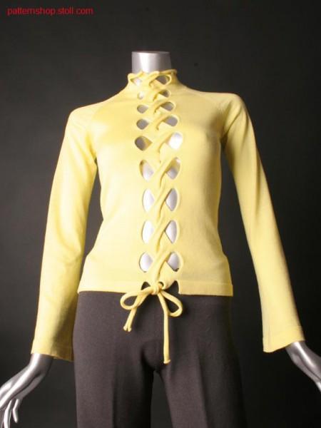 Fitted FF-jersey raglan pullover / Taillierter FF-Rechts-Links Raglanpullover