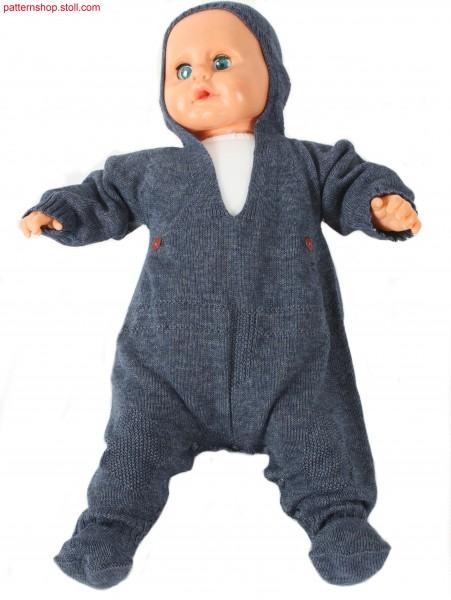 Jersey romper suit with hood / Rechts-Links Kapuzen-Strampelanzug