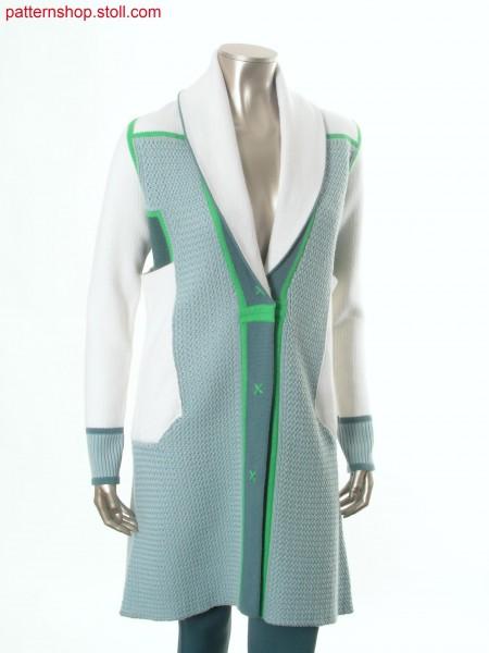 Fully Fashion-intarsia coat with 1x1 transfer structure / Fully Fashion-Intarsia Mantel mit 1x1 Umh