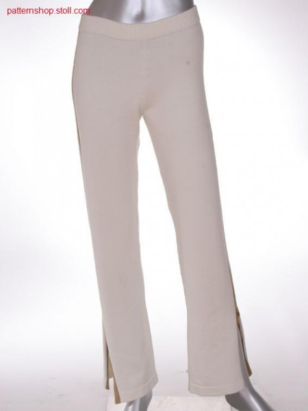 FF-jersey trousers with intarsia side seams / FF-Rechts-Links Hose mit Intarsia-Seitenn