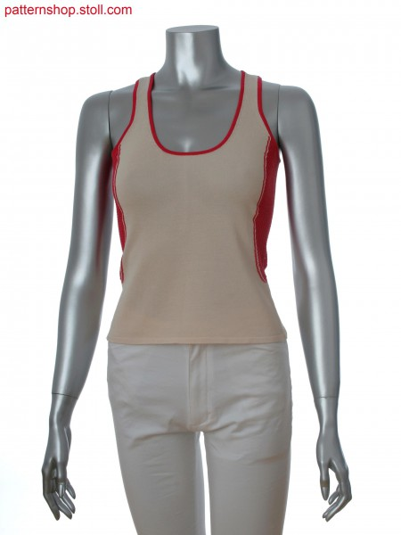 Fully Fashion sleeveless top in 2-color intarsia with pointelle and elastic tuck structure