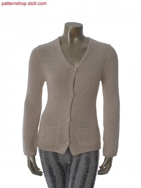 Jersey cardigan with patch pockets / Rechts-Links Strickjacke mit aufgesetzten Taschen
