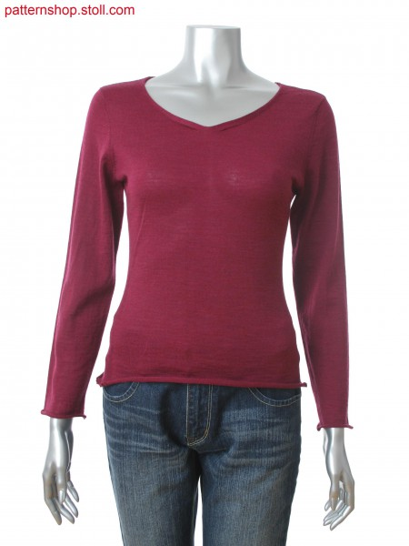 Fully Fashion fitted women's pullover with 2x2 rib on the sides