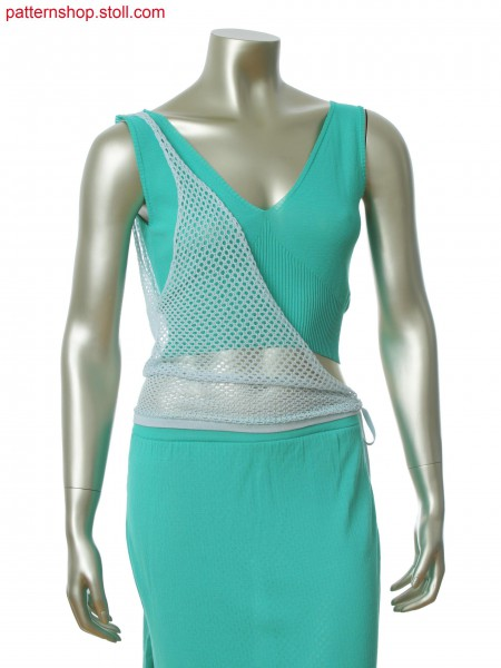 Fully Fashion top with one side seam and asymmetric wrapped layer in net structure