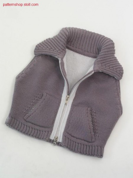 FF baby's waistcoat with knitted on  patch kangaroo pocket /FF Babyweste mit angestrickter aufgesetzter K