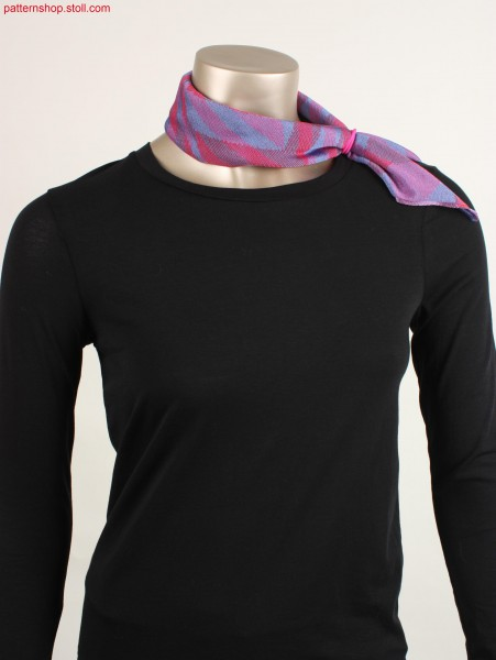 Scarf in ikat plated 2-system striped jersey / Halstuch in ikat-plattiertem, 2-System-geringeltem, Rechts-Links