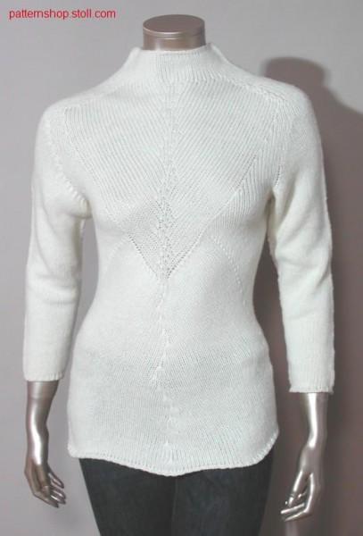Pullover with V- breast and transfer groups / Pullover mit V-Brustteil und Maschengruppen
