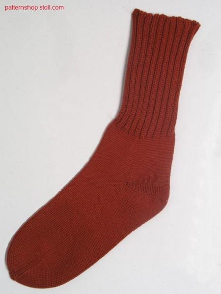 Sock with 2x2 rib and jersey foot / Socke mit 2x2 Rippe und Fu