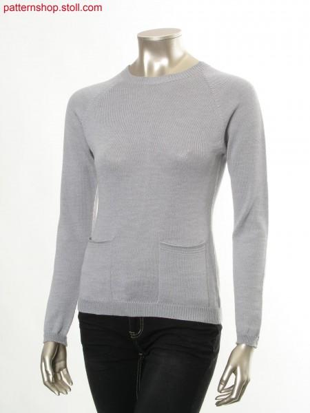 Fitted jersey raglan pullover with patch pockets / Taillierter Rechts-Links Raglanpullover mit aufgesetzten Taschen