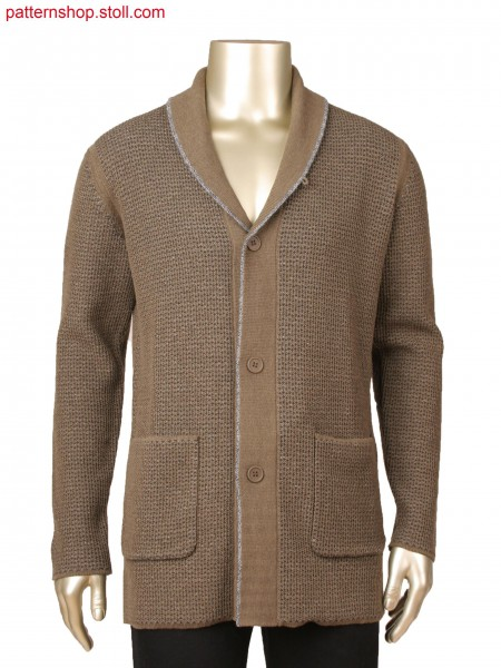 Fully Fashion cardigan with shawl collar, layer technique with transferred connection, 2-colour stripe inside