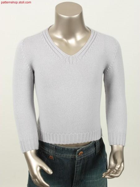 Jersey pullover with saddle shoulder and V-neck / Rechts-Links Pullover mit Sattelschulter und V-Ausschnitt