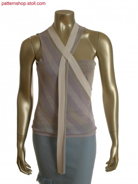 Fully Fashion asymmetric top with 3-color intarsia stripesand 26 Intarsia yarn carriers