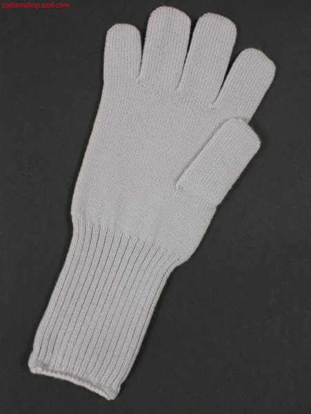 Jersey gloves with 2x2 rib wrist / Rechts-Links Handschuhemit Handgelenk in 2x2 Rippe