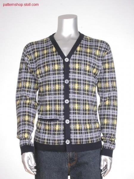 Fully fashion cardigan with 4-colour jacquard / Fully Fashion Strickjacke mit 4-farbigem Jacquard