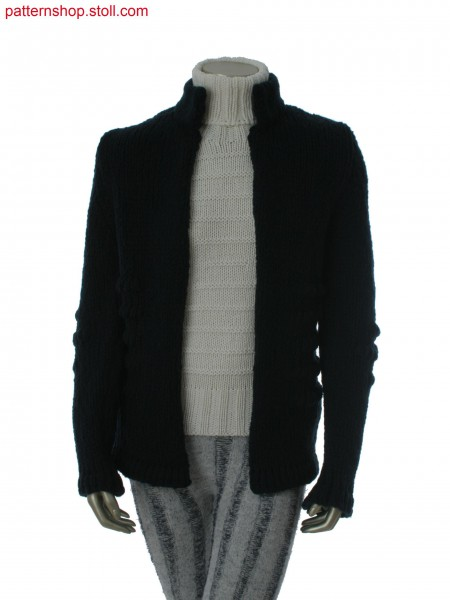 Fully Fashion cardigan in 1x3 jersey structure / Fully Fashion Strickjacke in 1x3 Rechts-Links Struktur