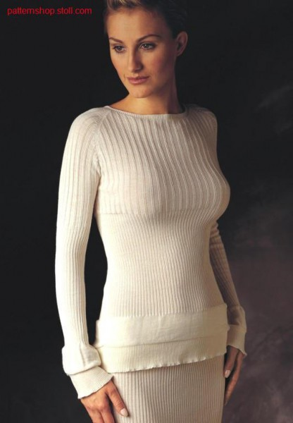 Pullover with different ribs.