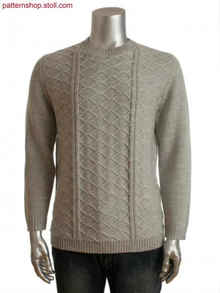 Fully Fashion men's crew neck sweater with float structureon front
