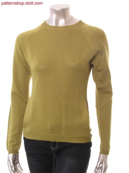 Raglan pullover with patch side slit pockets / Raglanpullover mit aufgesetzten seitlichen Schubtaschen