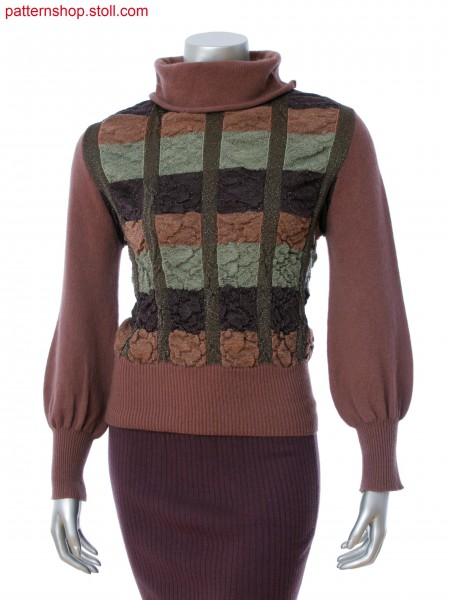 Fully Fashion pullover with turndown collar in 4-color stripes with tubular. Single jersey in gathering effect.