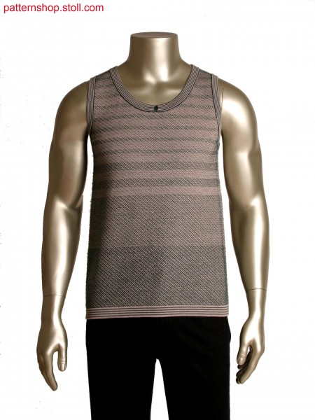 Fully Fashion sleeveless top,inlay yarn in contrasting ends with plating feeder