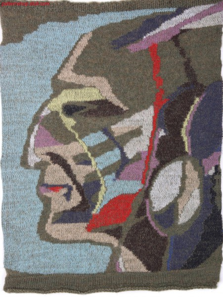 Swatch with Selective Plated Indian head motif / Musterausschnitt mit Selektiv Plattiertem Indianerkopf-Motiv