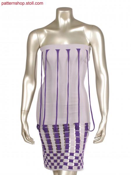 Fully Fashion dress, 3 colour intarsia (20 OIFF)  straps in layer technique