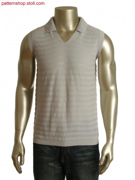 Fully Fashion Polo-Shirt with V-neck in single pique stripes and full rib placket
