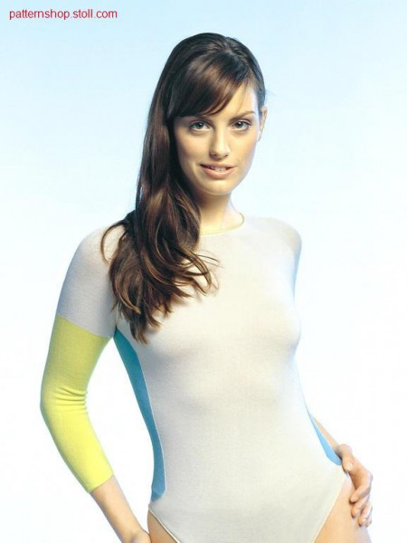 Fitted jersey-intarisa body-suit / Taillierter Rechts-Links-Intarsia Body-Suit