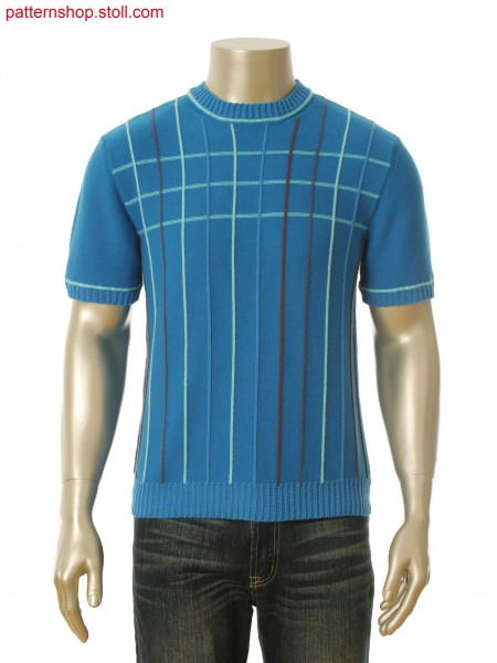 Fully Fashion intarsia pullover with stripes and 1 needle intarsia ribs in coarse yarn