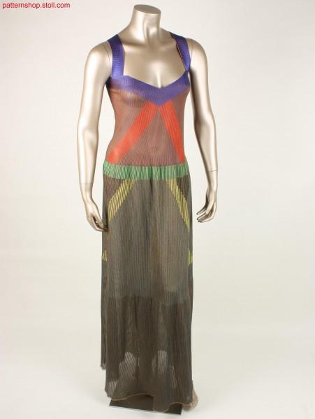 Full-length, striped strap dress with V-neck / Bodenlanges, geringeltes Tr