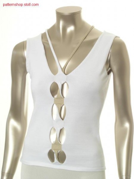 Fitted FF-jersey halter-neck top with rotated cables / Tailliertes FF-Rechts-Links Top mit Nackentr