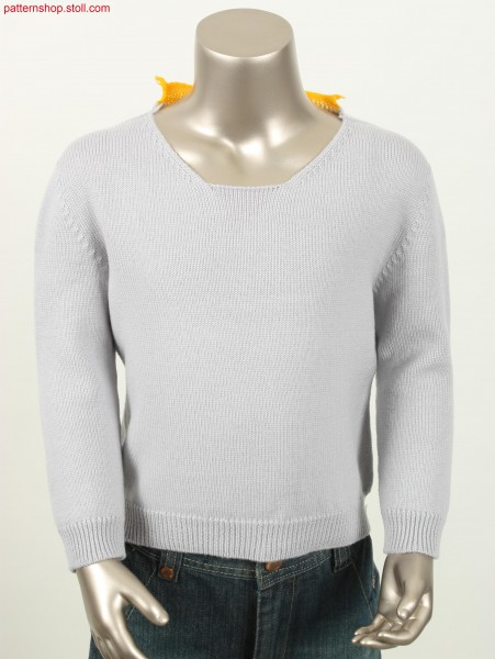 Jersey pullover with French shoulder / Rechts-Links Pullover mit Franz
