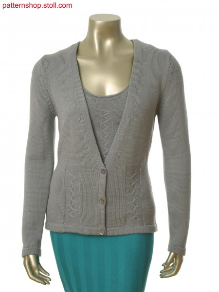 Stoll-flexible gauge&reg 5 gauge optic Fully Fashion cardigan with float structure in zig zag optic