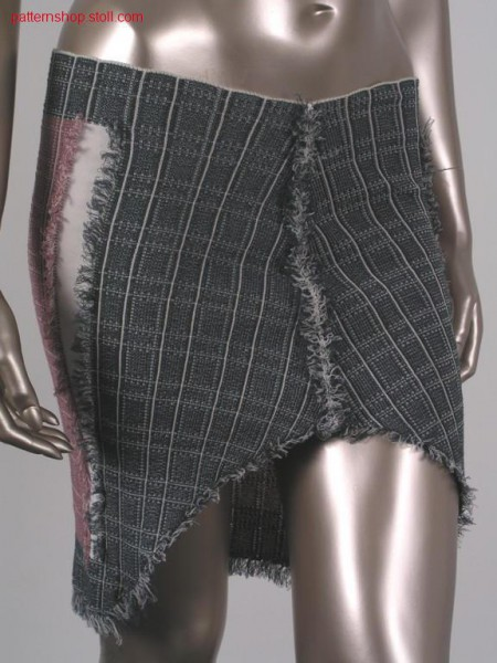 Jacquard-intarsia jeans skirt with fringes / Jacquard-Intarsia Jeansrock mit Fransen