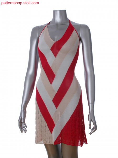Fully Fashion halter neck dress in 3-color intarsia with pointelle and 2x2 rib