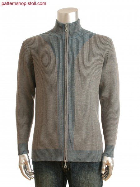 Fully Fashion men's zipped cardigan with partially plated ribs