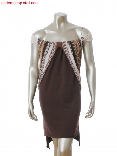 Intarsia dress with seamless shoulder, body band in 1x1 technique, ripple structure and gore technique.